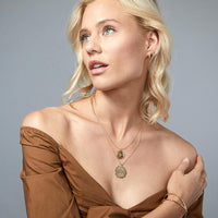 Mosaic Coin Necklace in Gold - model view