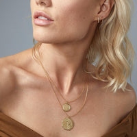 Mosaic Coin Necklace in Gold - model detail view