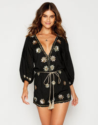 Myra Romper in Black with Hand Sewn Sequins - front view