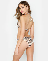 Nadia Skimpy Bikini Bottom in Leopard - back view