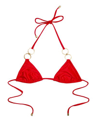 Nadia Triangle Bikini Top in Red Rib with Gold Hardware - product view