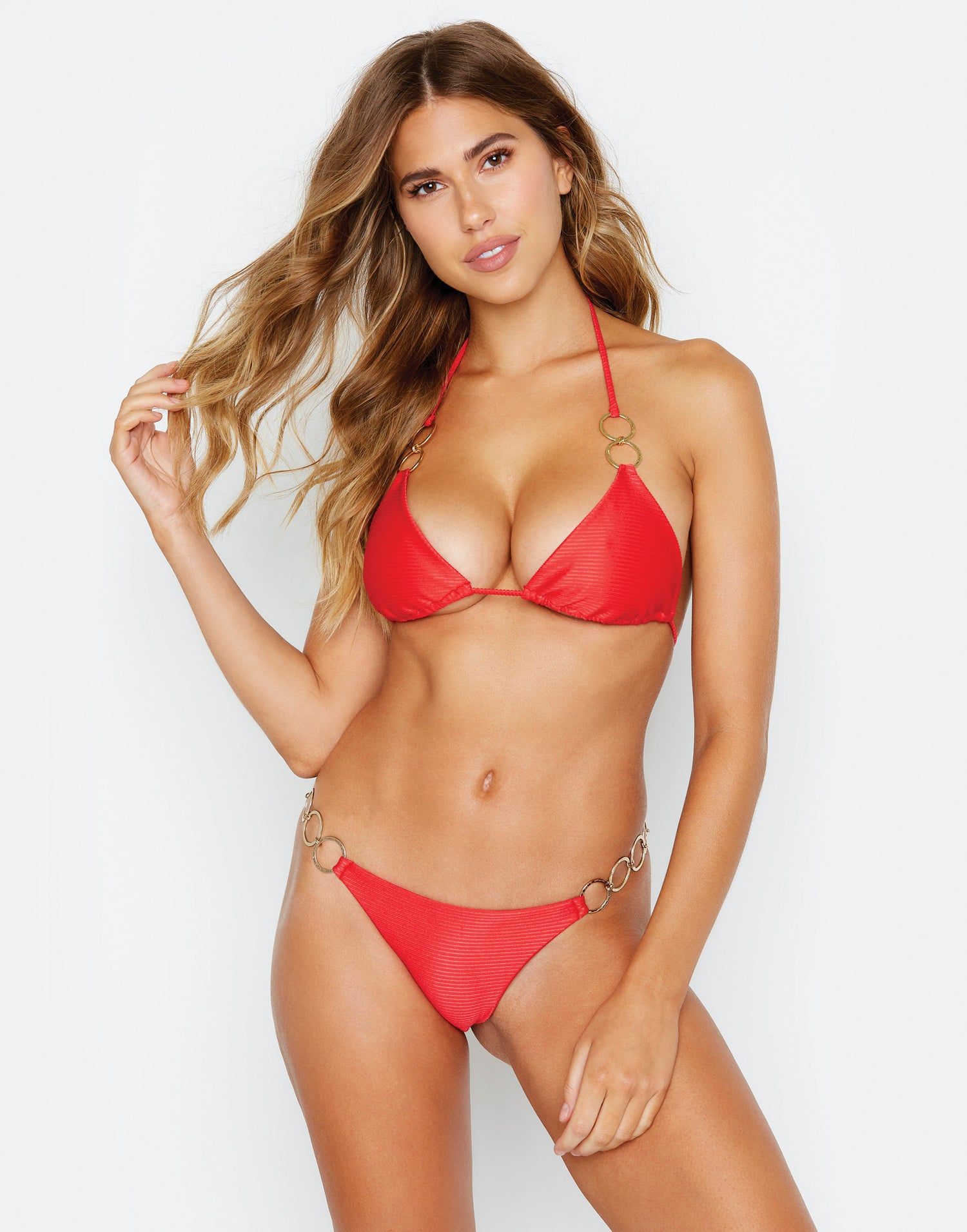 Nadia Triangle Bikini Top in Red Rib with Gold Hardware - front view