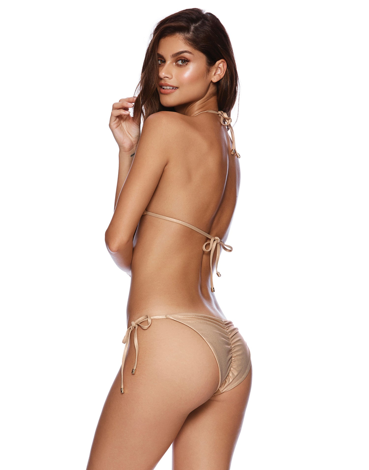 Nala Tie Side Skimpy Bikini Bottom in Rose Gold with Beads and Sequins - side view