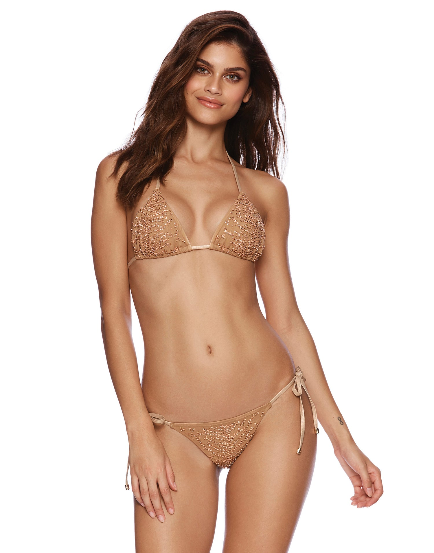 Nala Tie Side Skimpy Bikini Bottom in Rose Gold with Beads and Sequins - front view