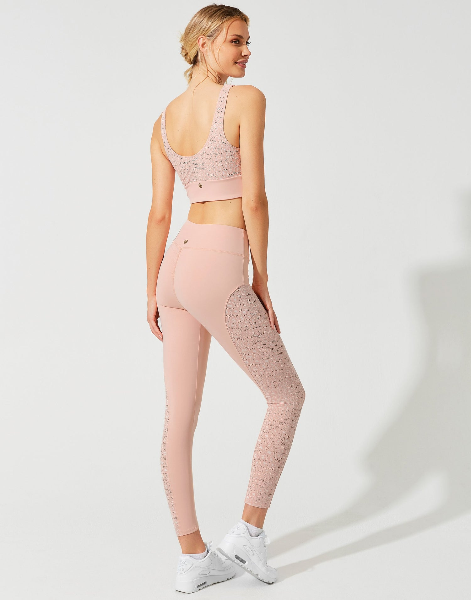 Fiona Legging in Pink Leopard - back view
