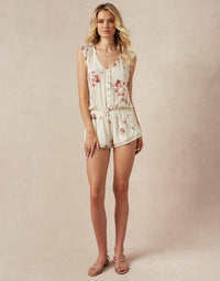 Niko Romper in Chiffon with Workable Buttons - front view
