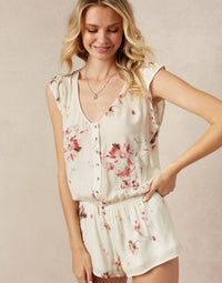 Niko Romper in Chiffon with Workable Buttons - detail view