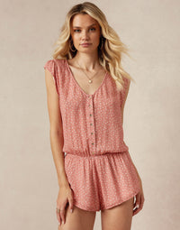 Niko Romper in Rose Pink with Workable Buttons - detail view