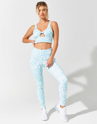 Isabella Active Legging in Aqua Leopard - front view