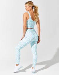 Isabella Active Legging in Aqua Leopard - back view