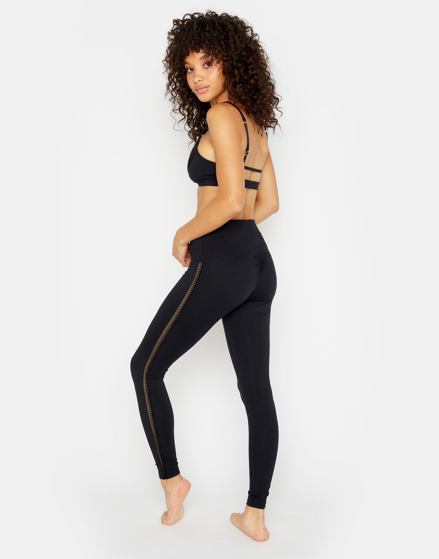 Paige Legging in Black with Mesh Stripe - side view