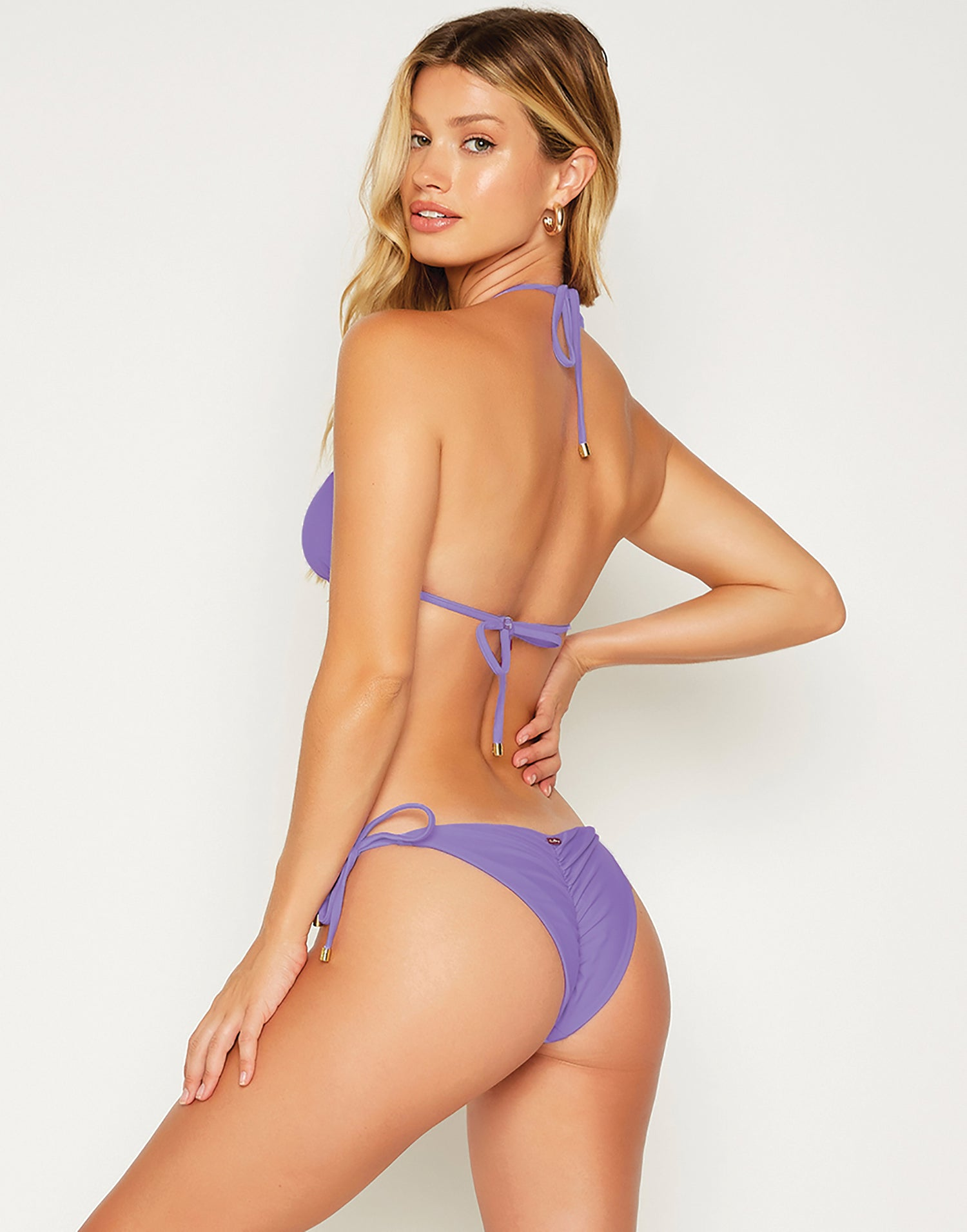 Kinsley Tie Side Bikini Bottom in Lilac with Gold Hardware - back view