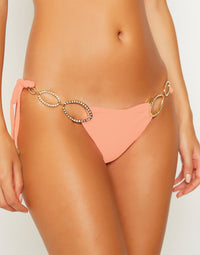 Kinsley Tie Side Bikini Bottom in Sorbet with Gold Hardware - detail view
