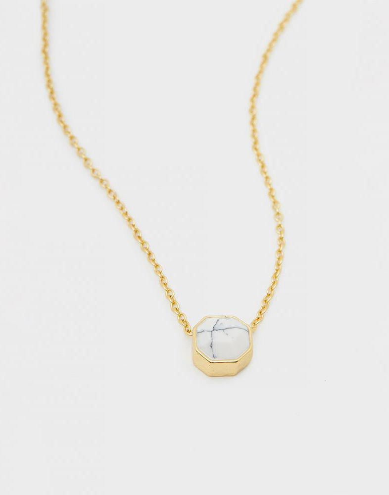 Gorjana's Power Gemstone Charm Necklace for Calming in Gold - product view