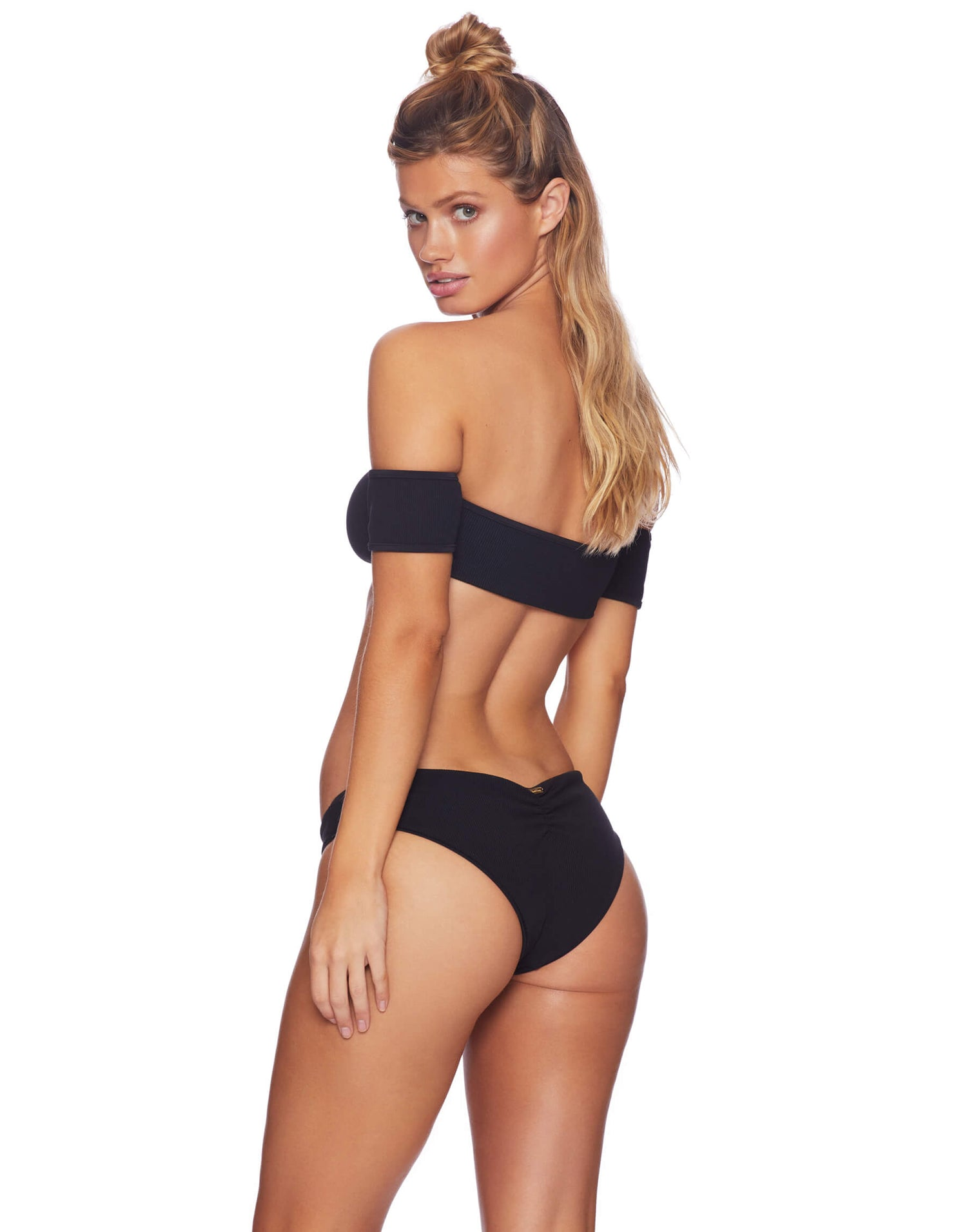 Presley Flat Skimpy Bikini Bottom in Black Rib - back view