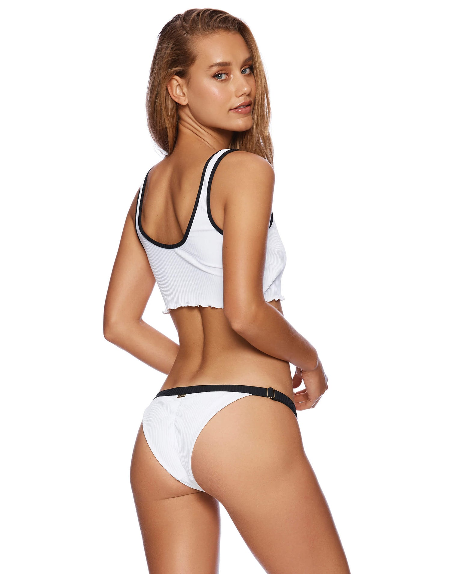 Presley Adjustable Skimpy Bikini Bottom in White Rib - alternate back view