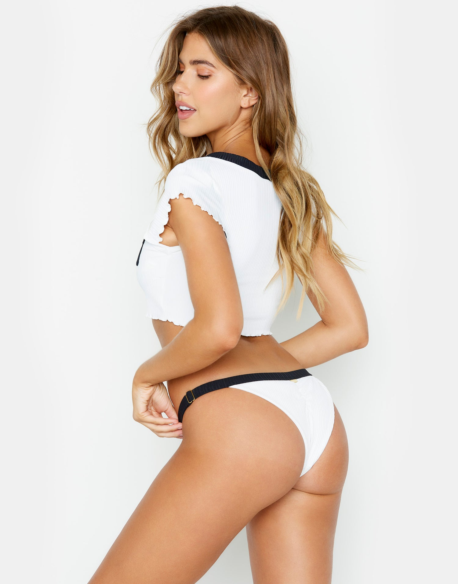 Presley Adjustable Skimpy Bikini Bottom in White Rib - back view