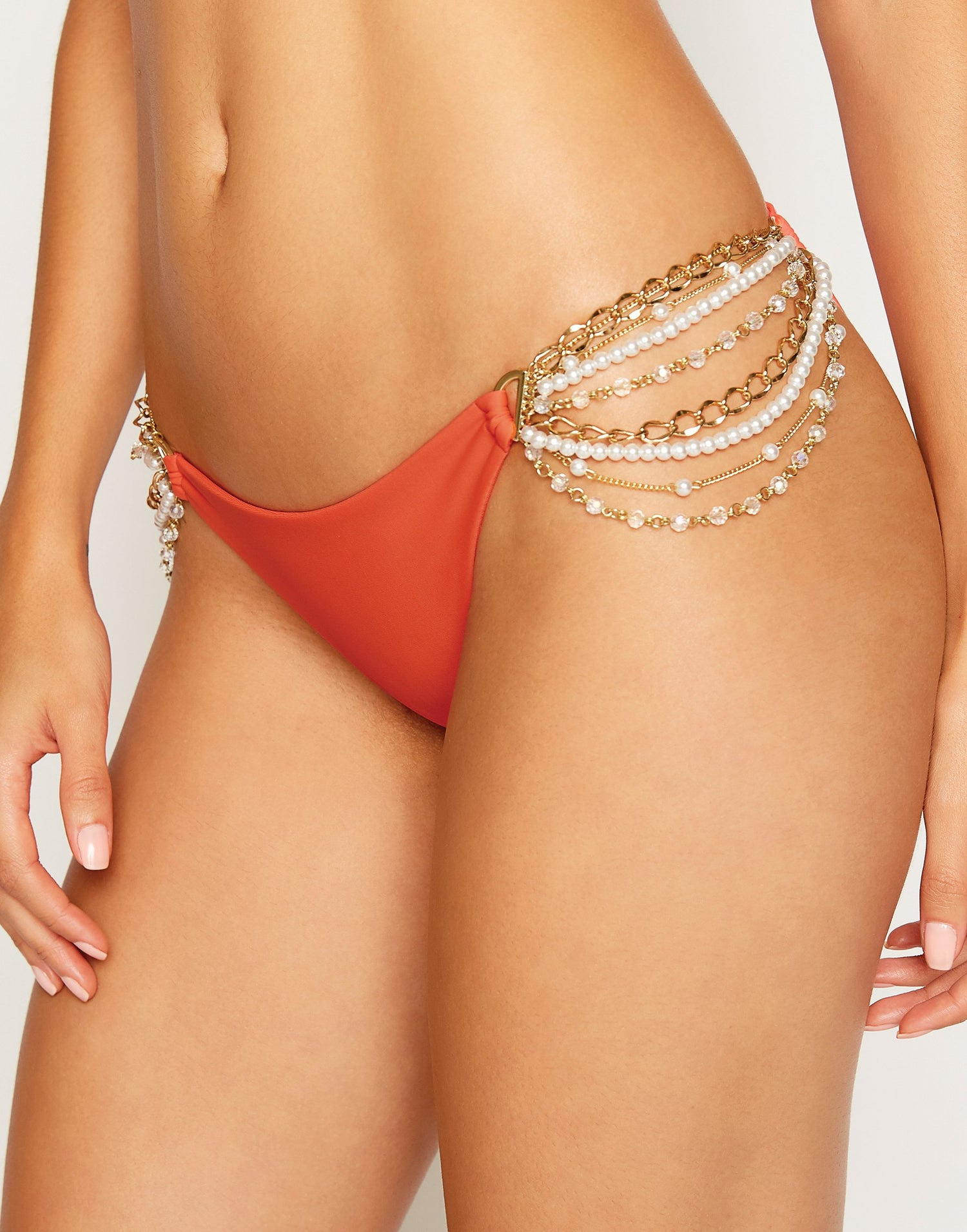 Pretty in Pearls Skimpy Bikini Bottom in Poppy Red with Pearl Hardware - detail view