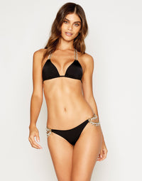 Pretty in Pearls Skimpy Bikini Bottom in Black with Pearl Hardware - front view