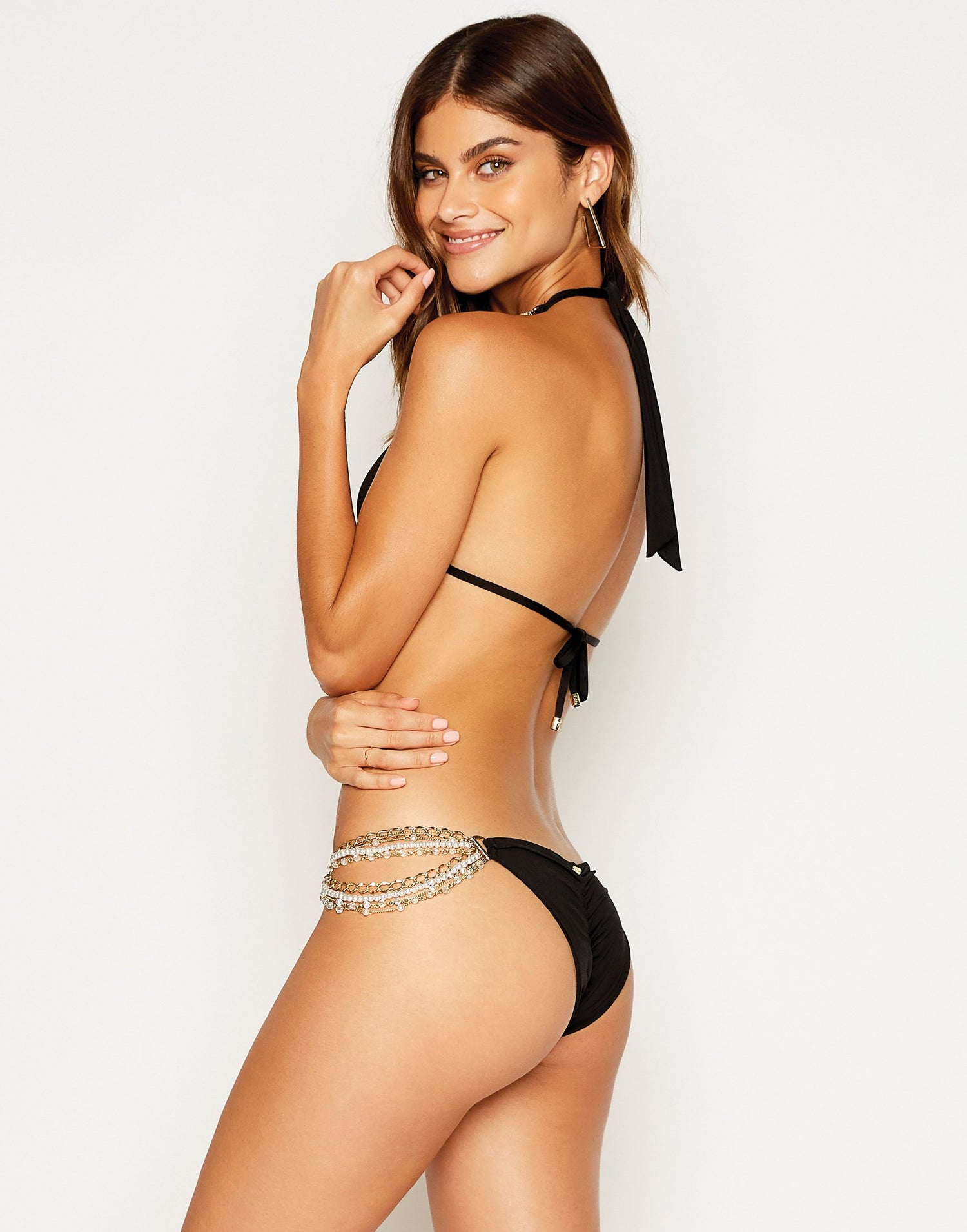 Pretty in Pearls Triangle Bikini Top in Black - side view