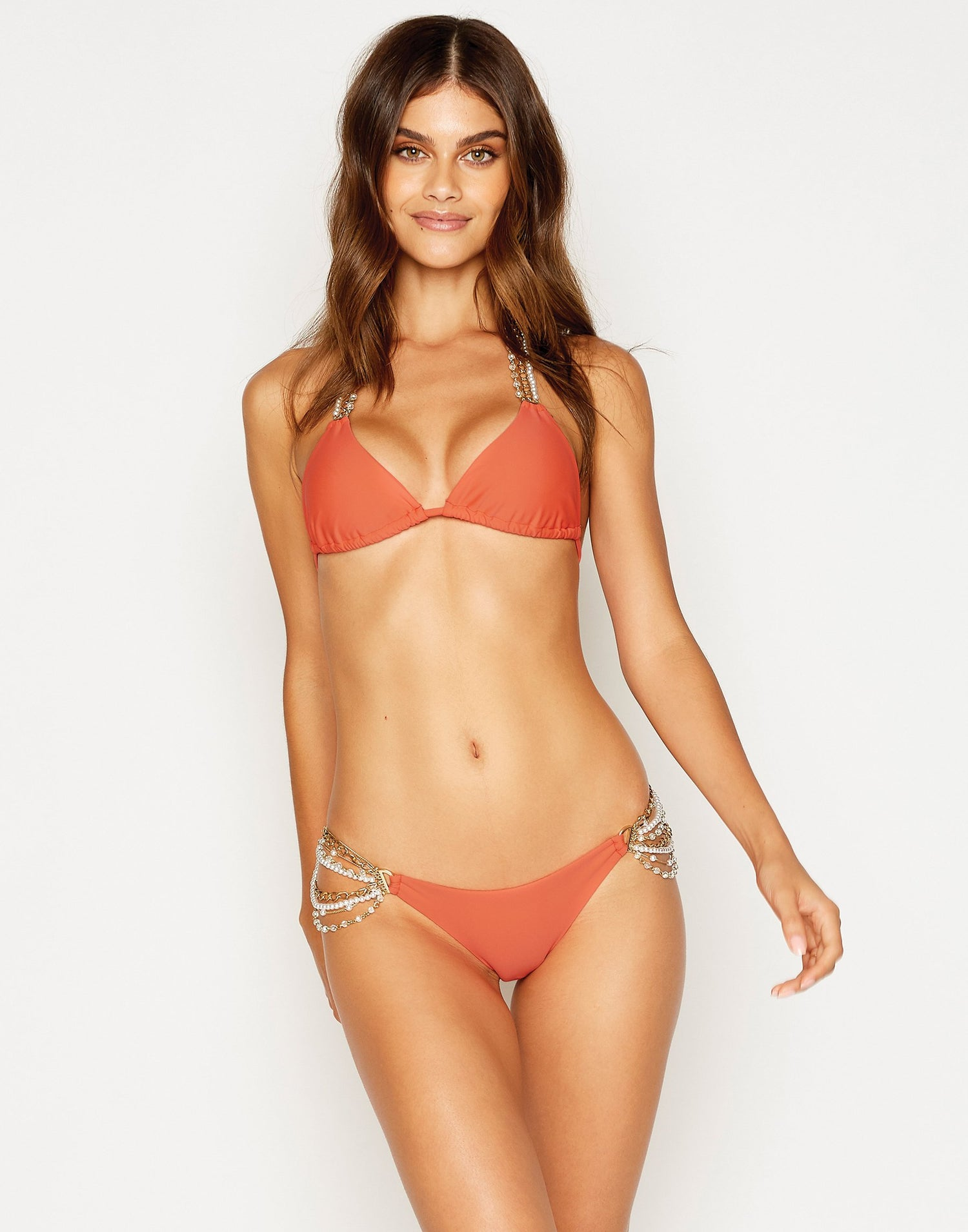 Pretty in Pearls Triangle Bikini Top in Poppy Red with Pearl Hardware - front view
