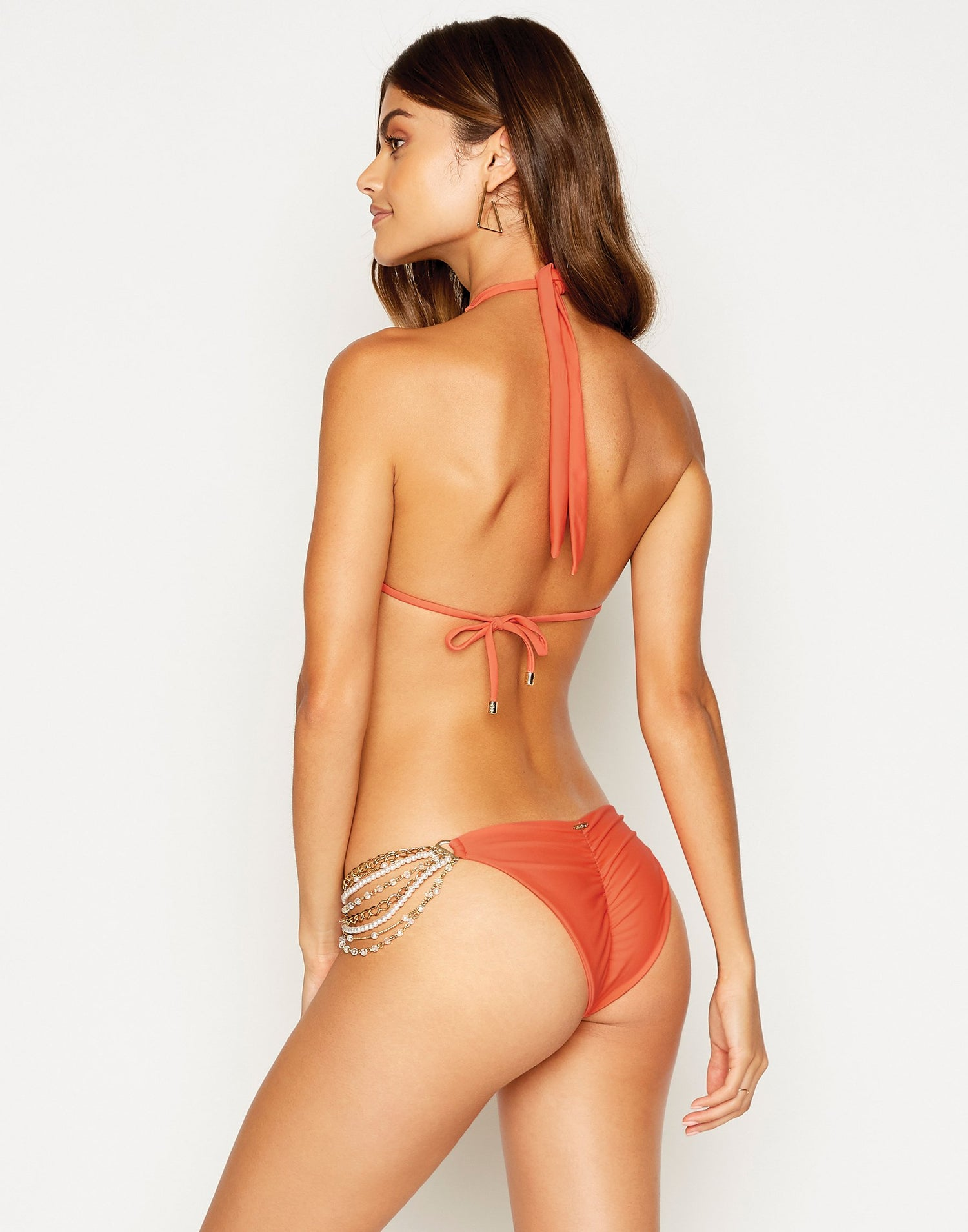 Pretty in Pearls Skimpy Bikini Bottom in Poppy Red with Pearl Hardware - back view