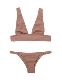 Reese High Apex Bikini Top in Whiskey Rose Waffle Texture - product view