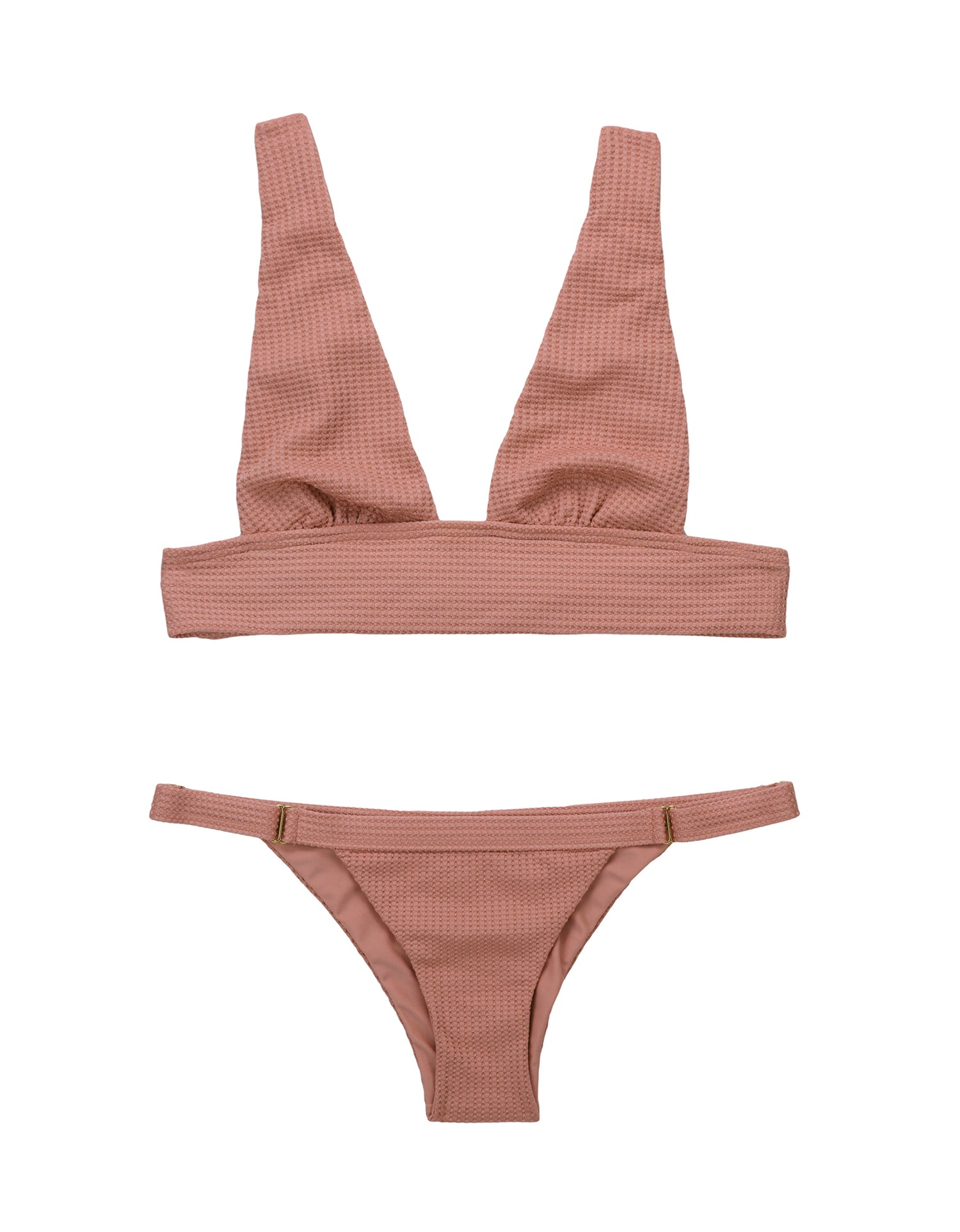 Reese Adjustable Skimpy Bikini Bottom in Whiskey Rose Texture - product view