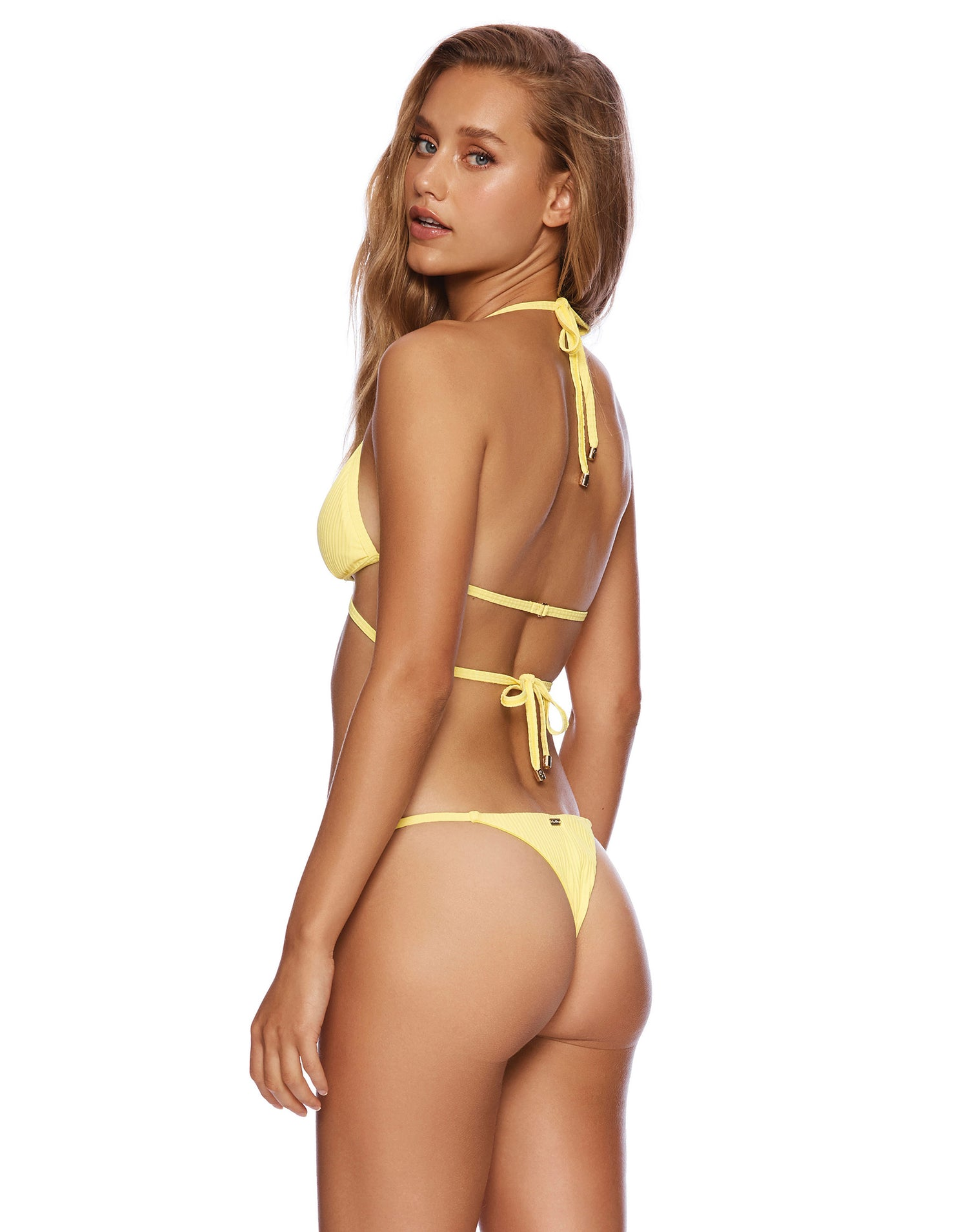 Renegade Wrap Bikini Top in Lemon Yellow Rib - back view