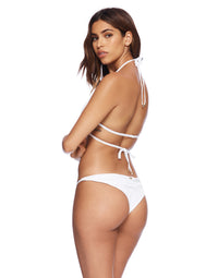 Renegade Wrap Bikini Top in White Rib - back view