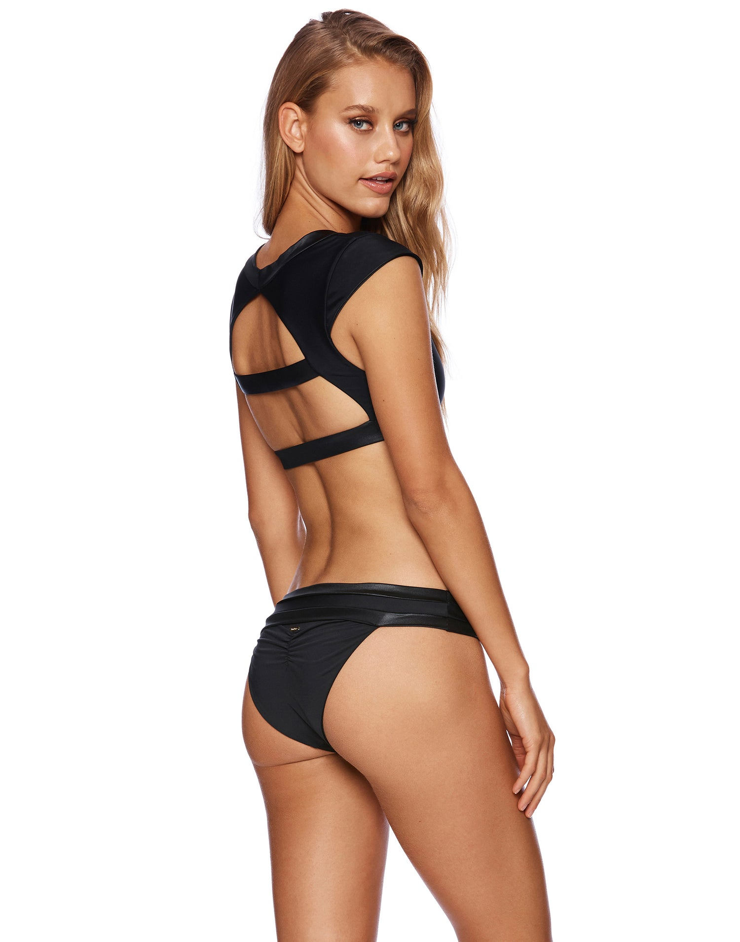 Mia Full Coverage Bikini Bottom in Black - back view