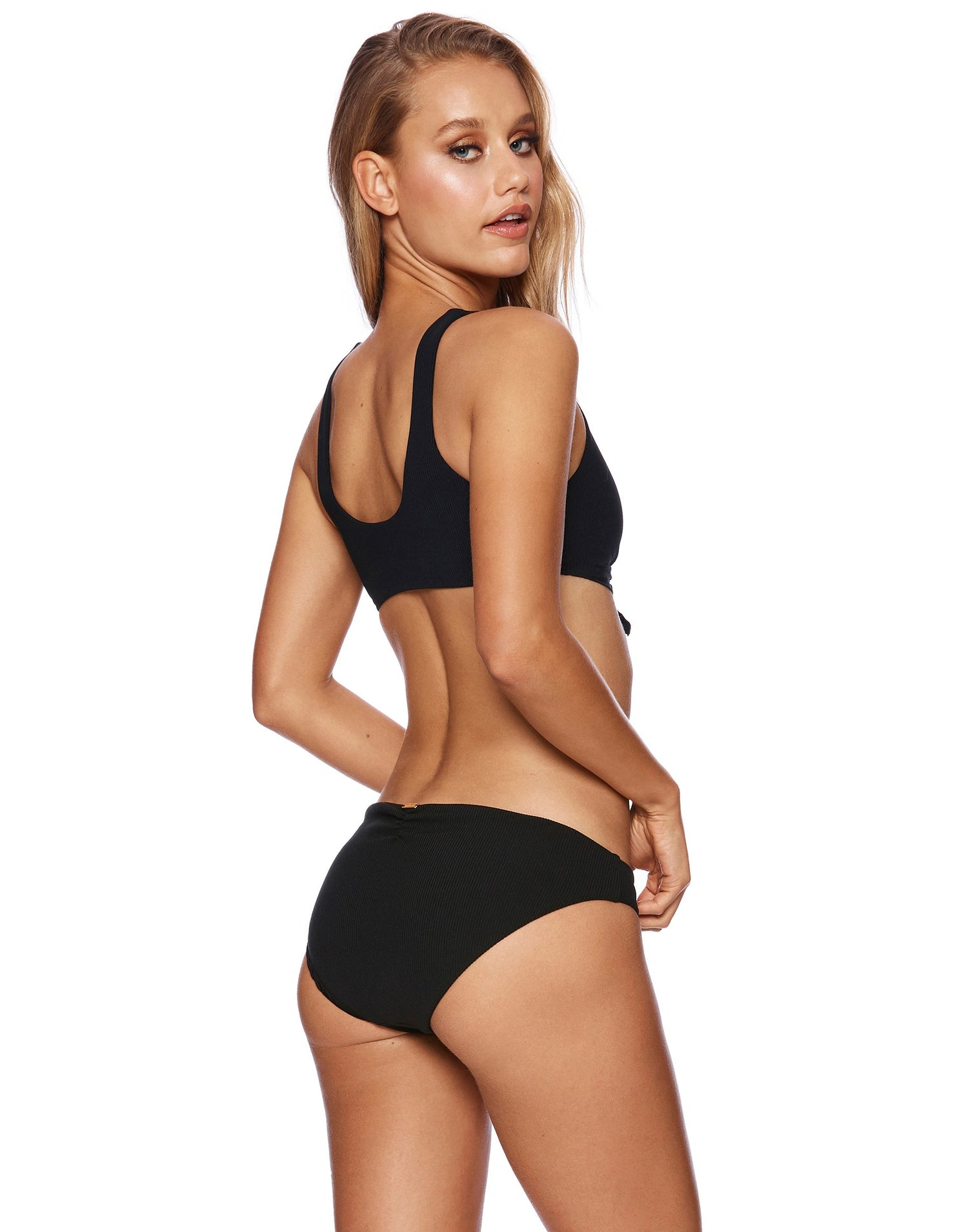 Rib Tide Knot Bikini Top in Black Rib - back view