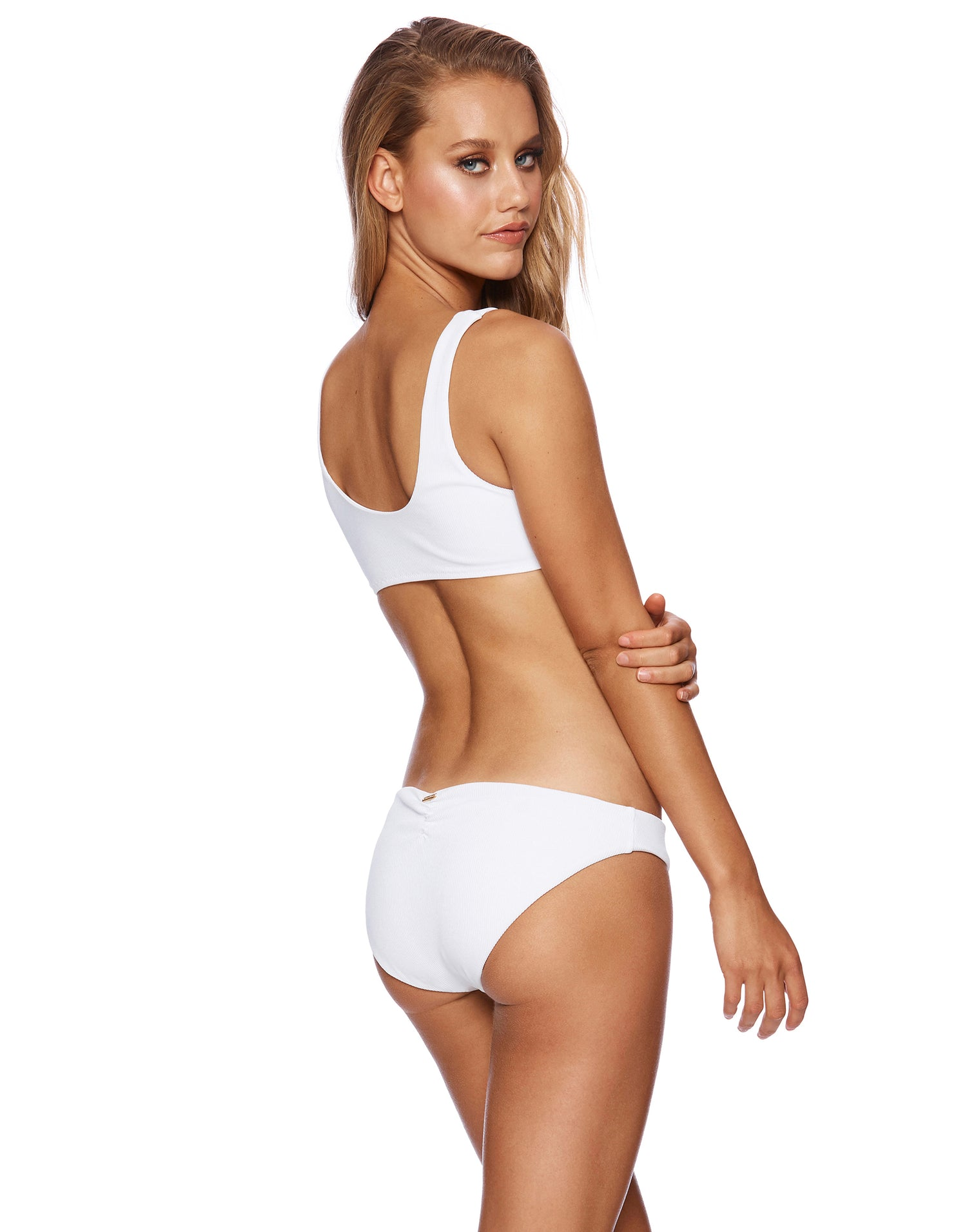 Rib Tide Kate Full Bikini Bottom in White Rib - back view