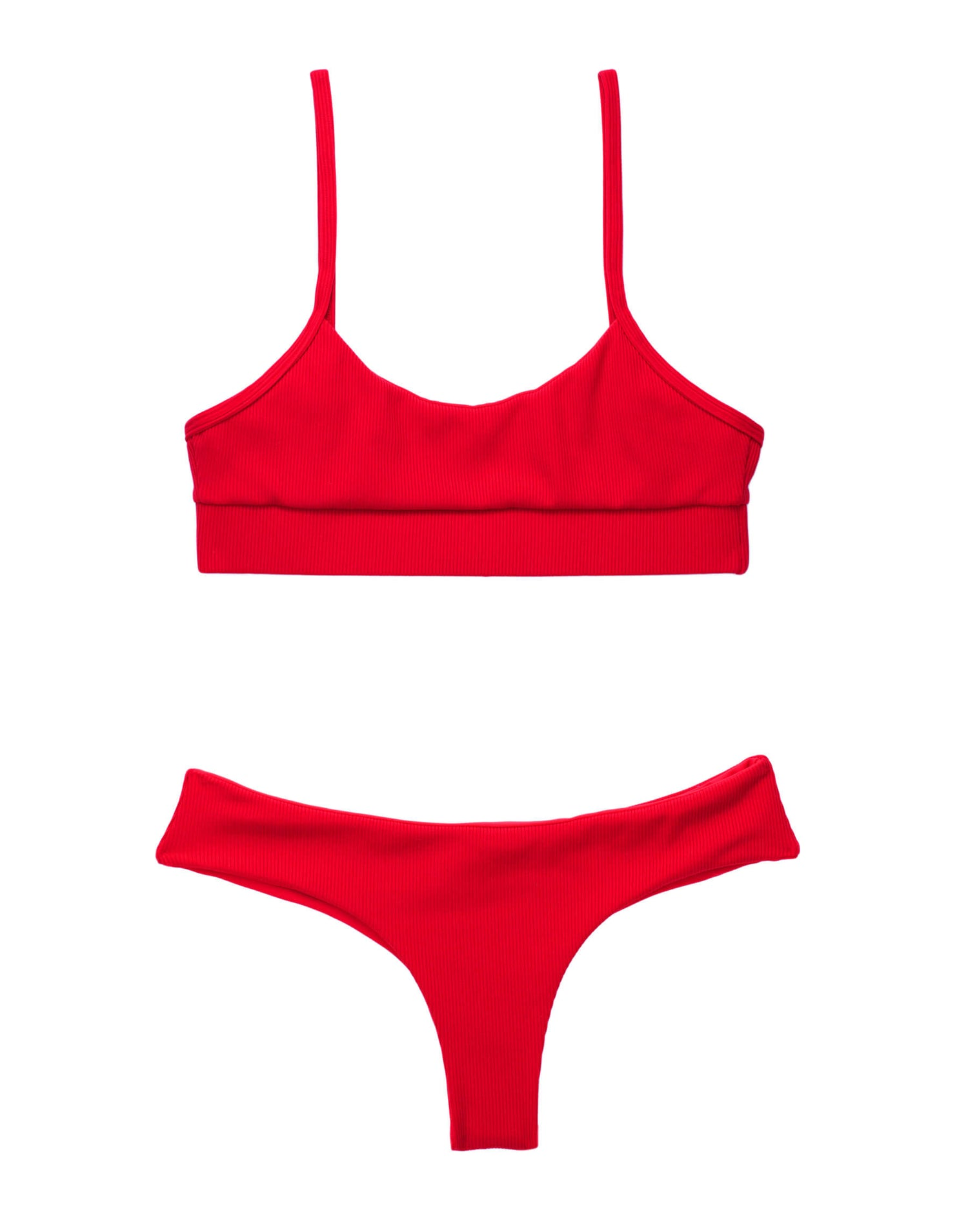 Rib Tide Bralette Bikini Top in Red Rib - product view