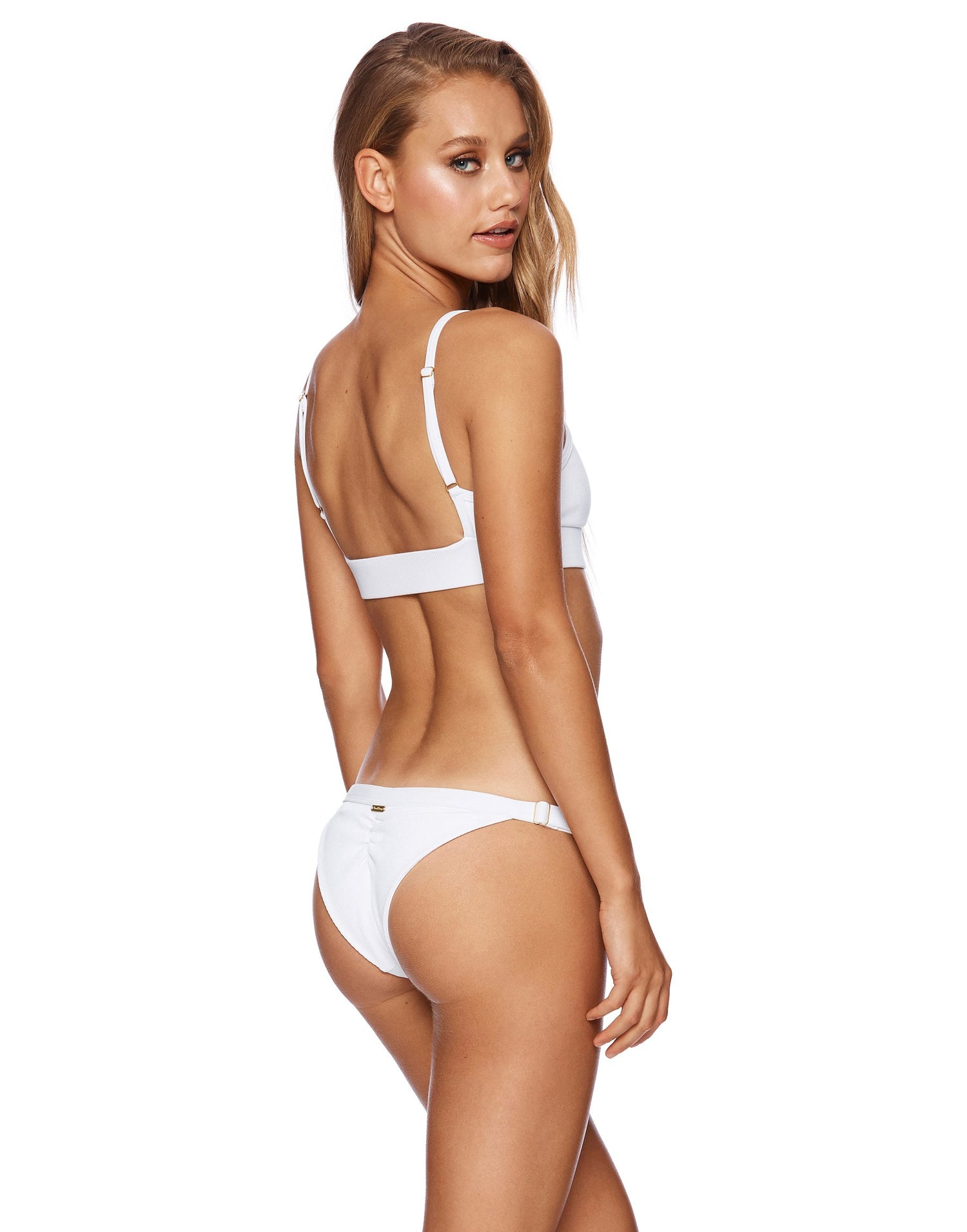 Rib Tide Bralette Bikini Top in White Rib - back view