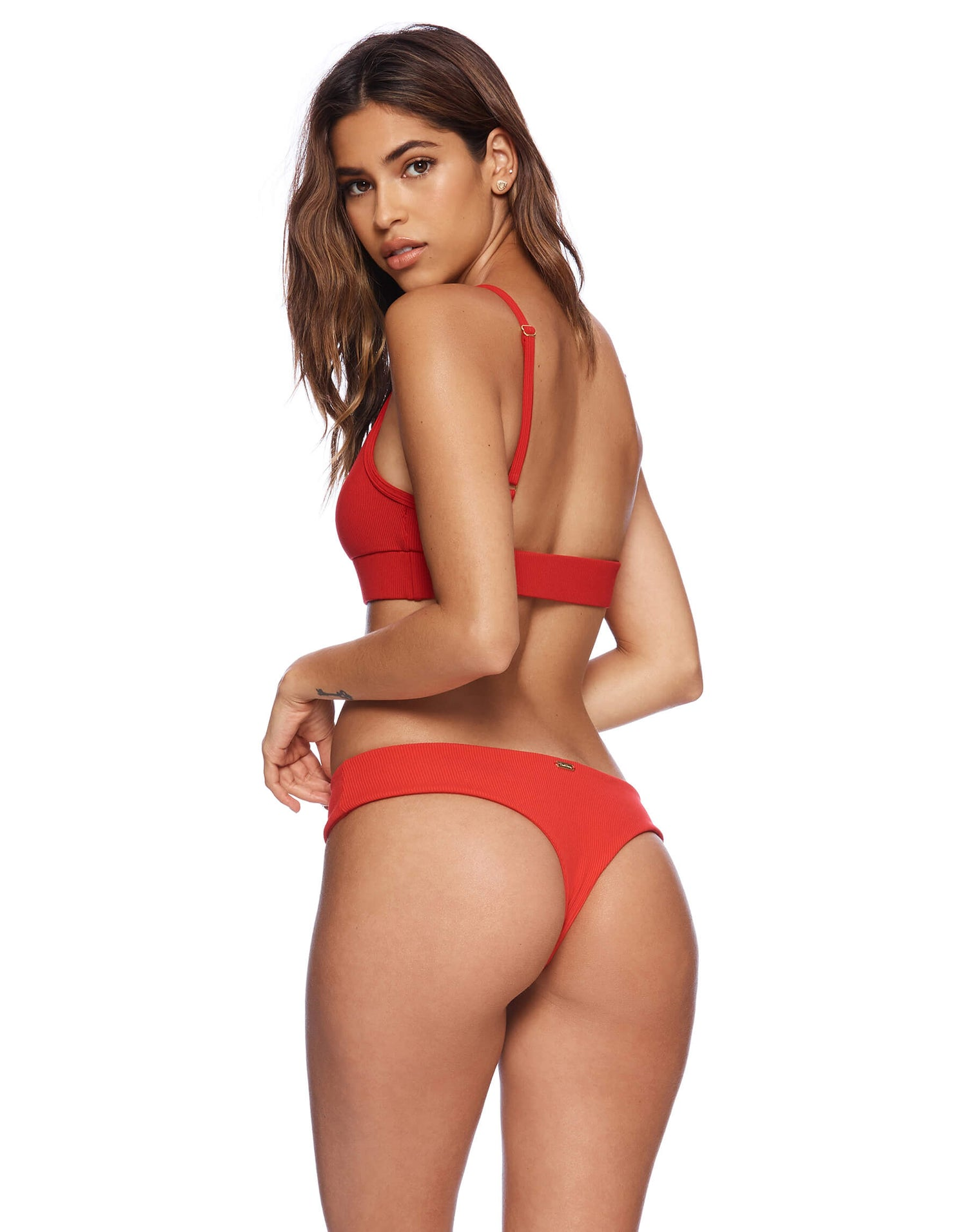 Rib Tide Bralette Bikini Top in Red Rib - back view