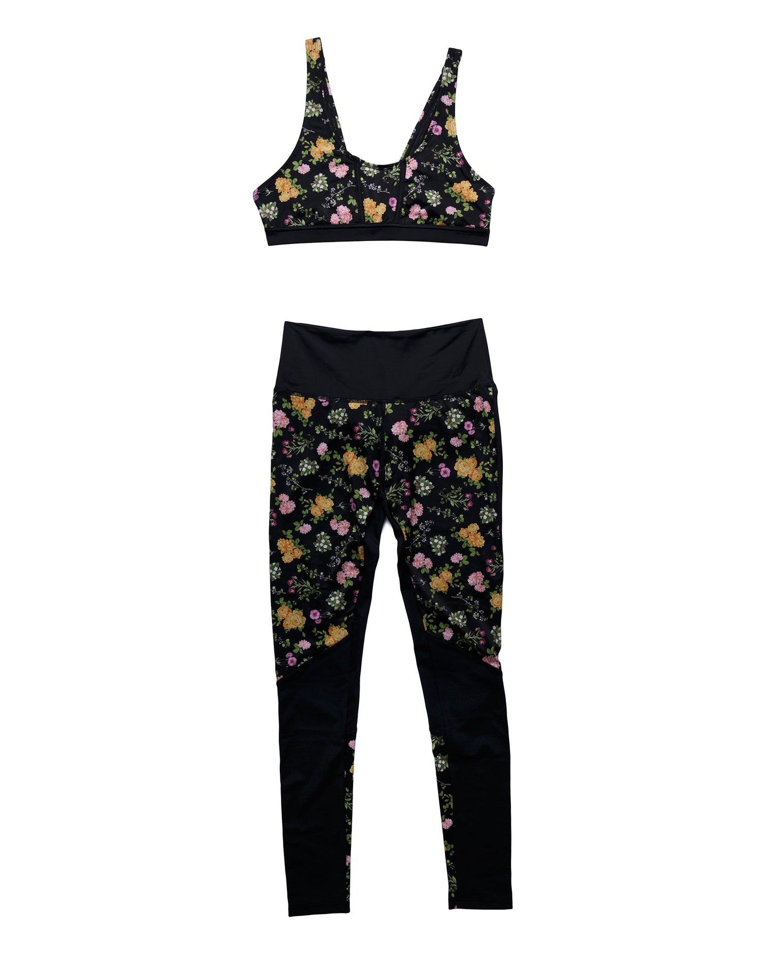 Riley Sports Bra in Black Floral - product view