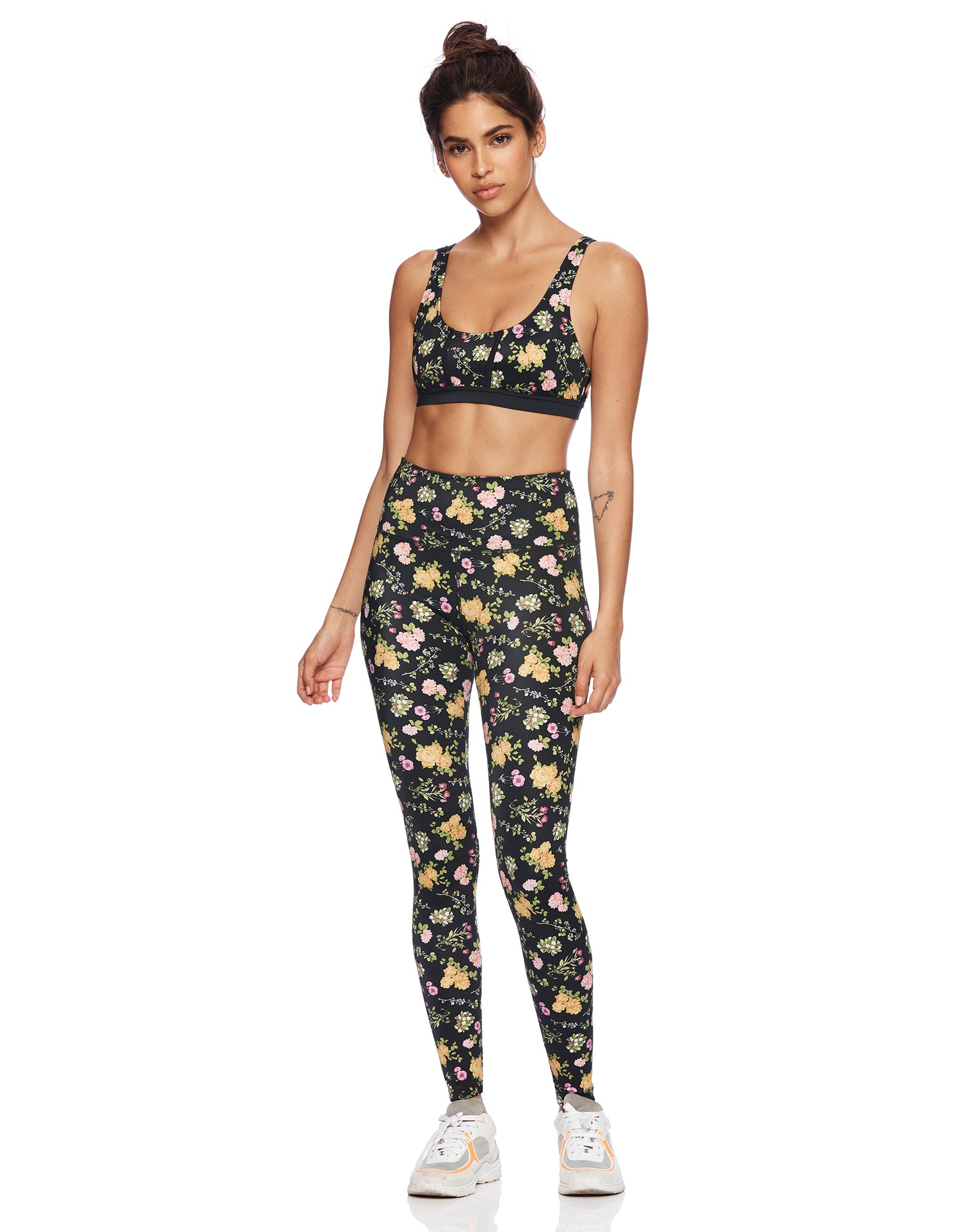 Sunny Legging in Black Floral - alternate front view