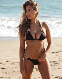 Run The World Halter Bikini Top in Black with Gold Hardware - Alternate Front View