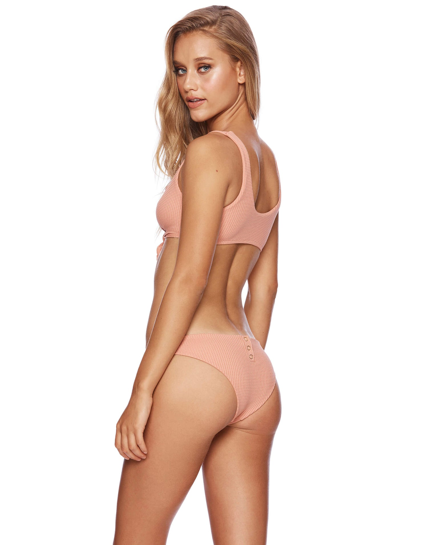 Sage Knot Bikini Top in Whiskey Rose Waffle Texture - back view