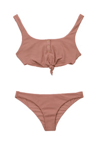 Sage Knot Bikini Top in Whiskey Rose Waffle Texture - product view