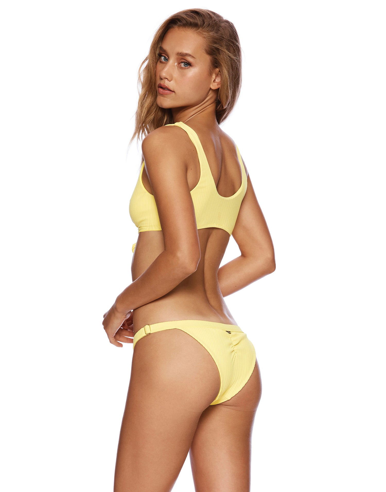 Presley Adjustable Skimpy Bikini Bottom in Lemon Yellow Rib - back view