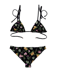 Samantha Triangle Bikini Top in Black Floral - product view