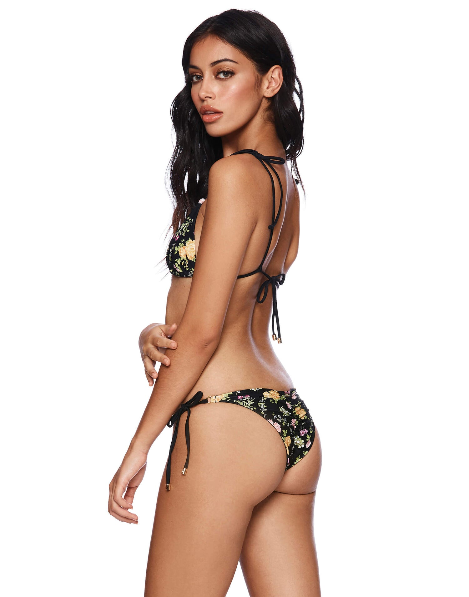 Piper Tie Side Bikini Bottom in Black Floral with Gold Mini-Ring Hardware - side view