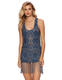 Sawyer Dress in Med Denim Blue with Fringe Trim - front view