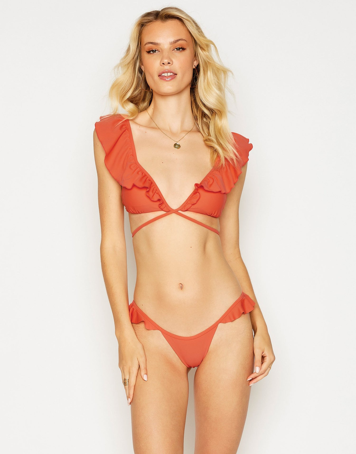 Scarlette Wrap Bikini Top in Poppy Red with Ruffle Detail - front view