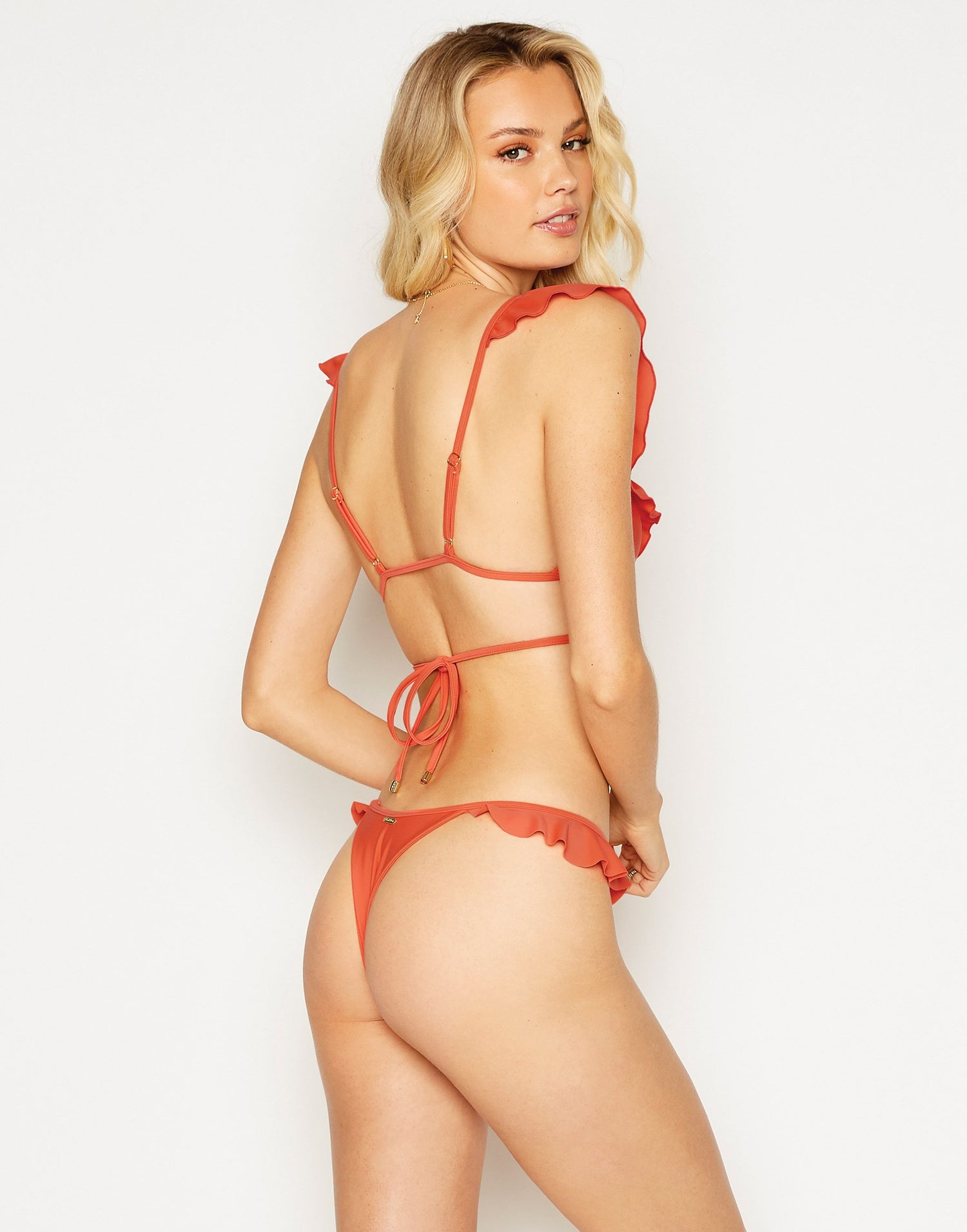 Scarlette Brazilian Bikini Bottom in Poppy Red with Ruffle Detail - back view