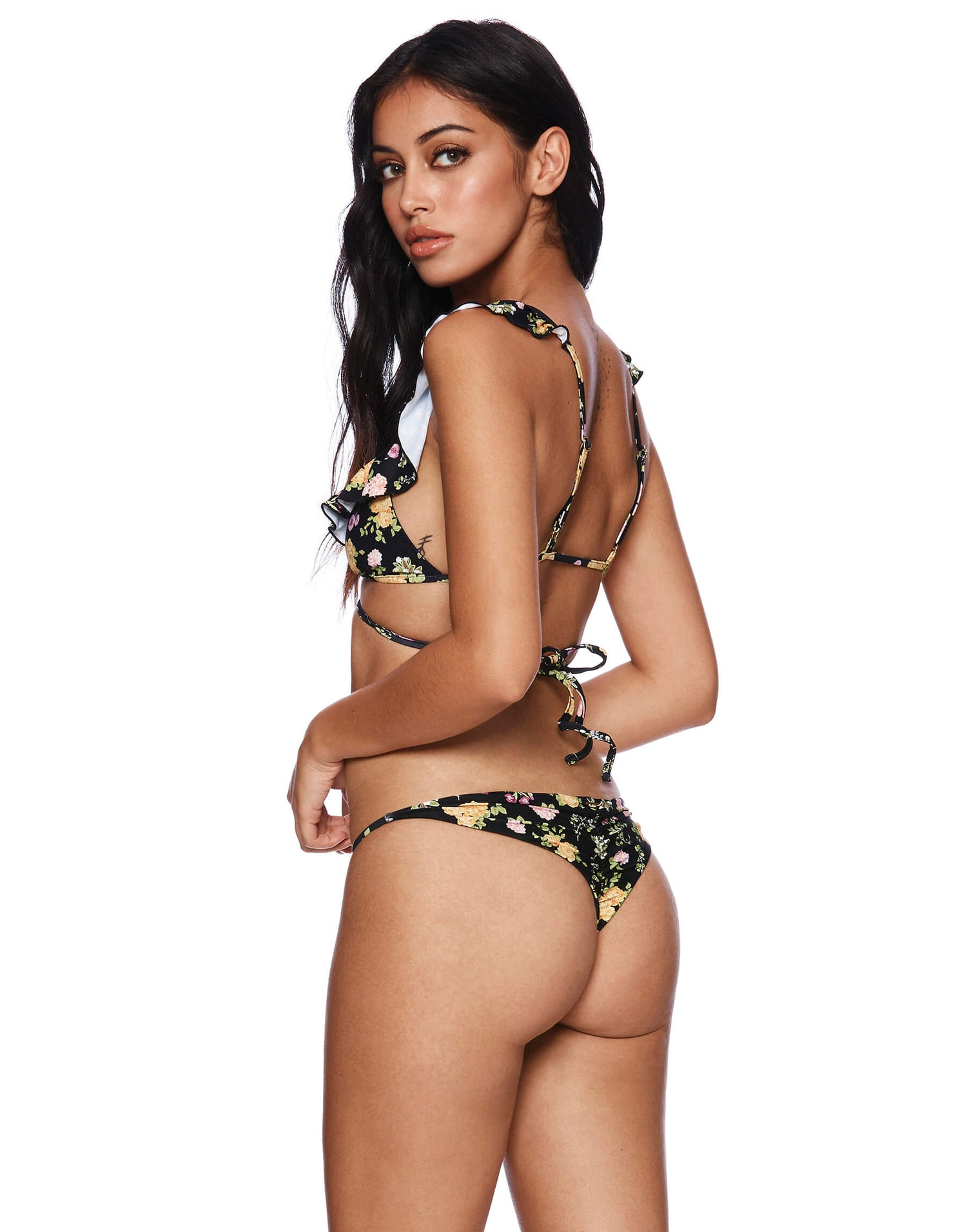Scarlette Wrap Bikini Top with Ruffle Detail in Black Floral - back view