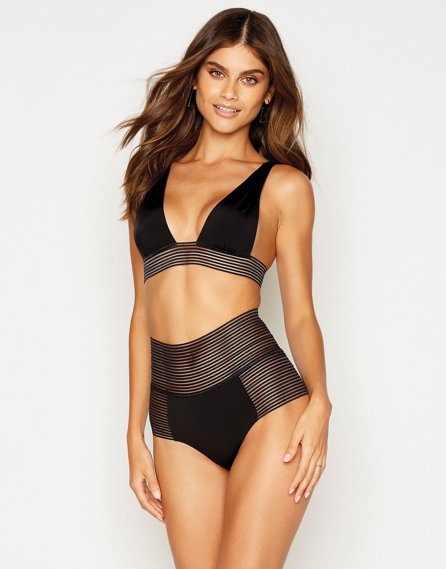 Sheer Addiction High Waist Bikini Bottom in Black with Sheer Elastic Stripes - front view