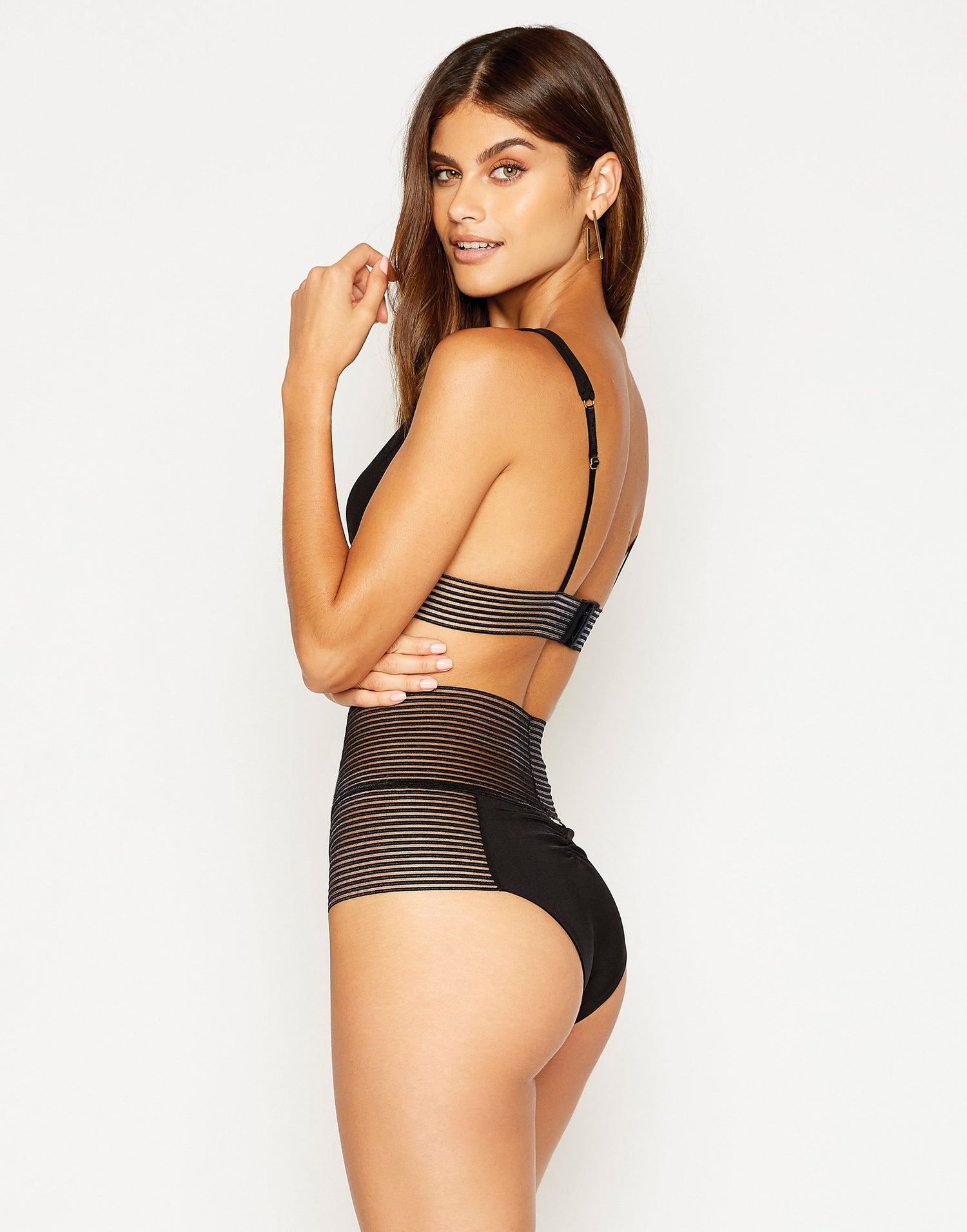 Sheer Addiction High Waist Bikini Bottom in Black with Sheer Elastic Stripes - side view